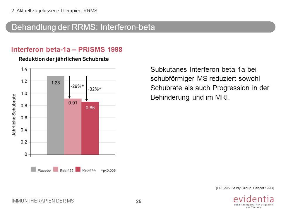 Behandlung der RRMS: Interferon-beta Interferon beta-1a – PRISMS 1998 Subkutanes Interferon beta-1a bei schubförmiger MS reduziert sowohl Schubrate al