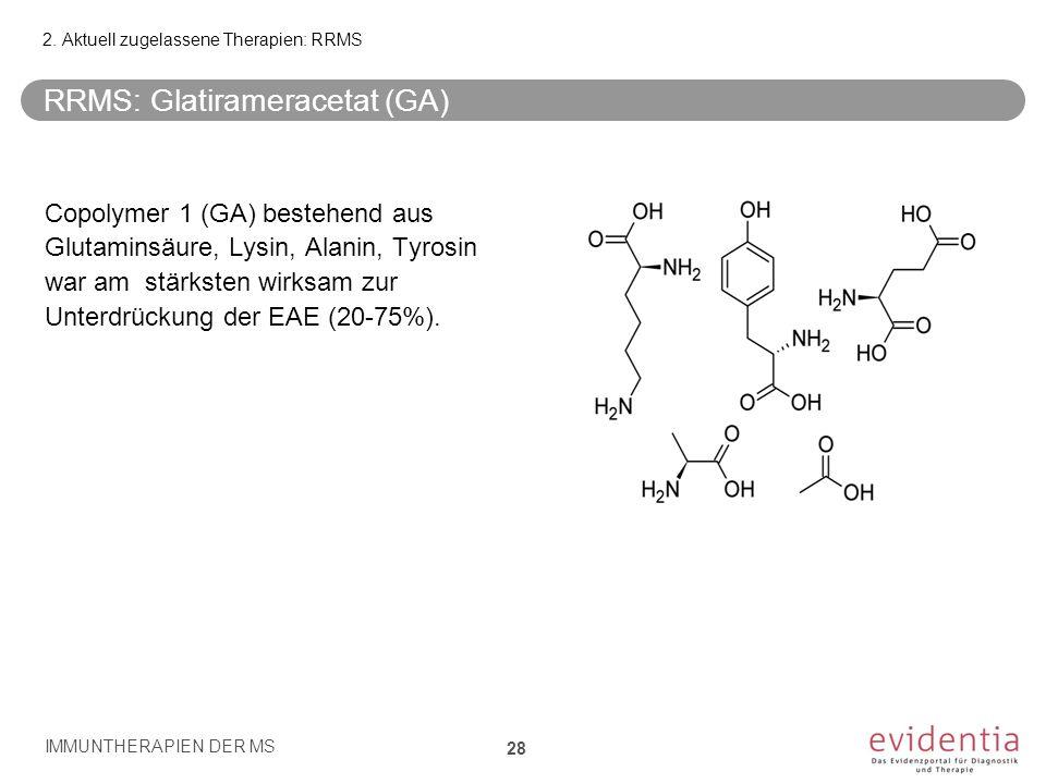 RRMS: Glatirameracetat (GA) Copolymer 1 (GA) bestehend aus Glutaminsäure, Lysin, Alanin, Tyrosin war am stärksten wirksam zur Unterdrückung der EAE (2