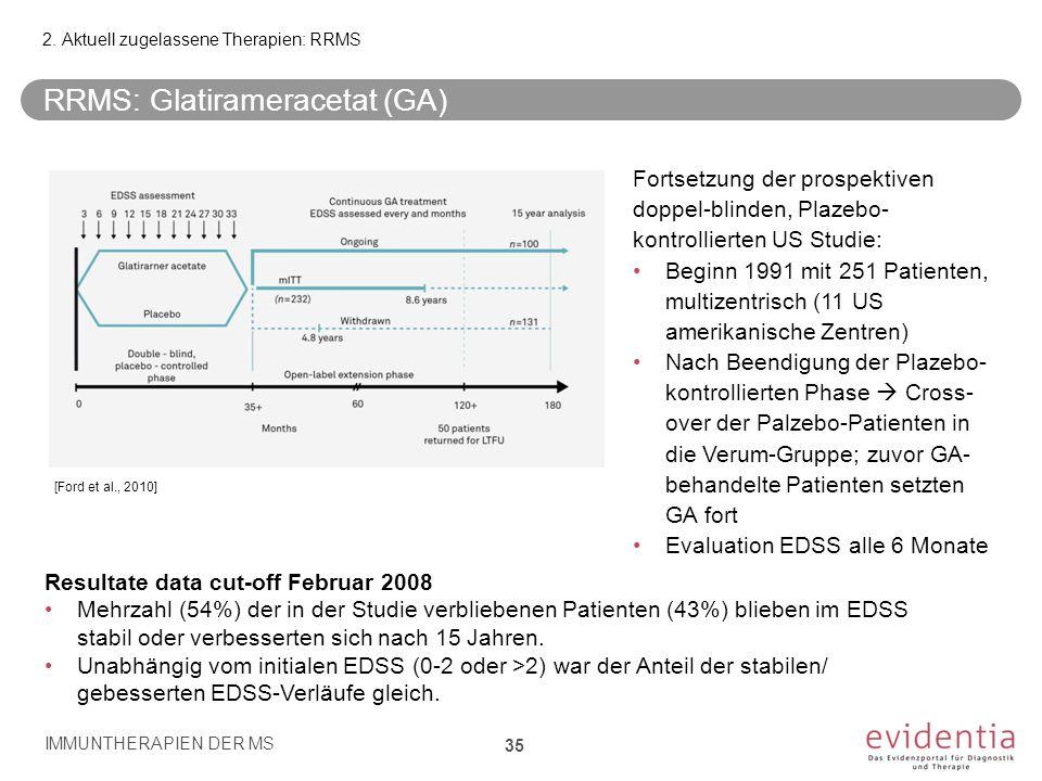 [Ford et al., 2010] Fortsetzung der prospektiven doppel-blinden, Plazebo- kontrollierten US Studie: Beginn 1991 mit 251 Patienten, multizentrisch (11