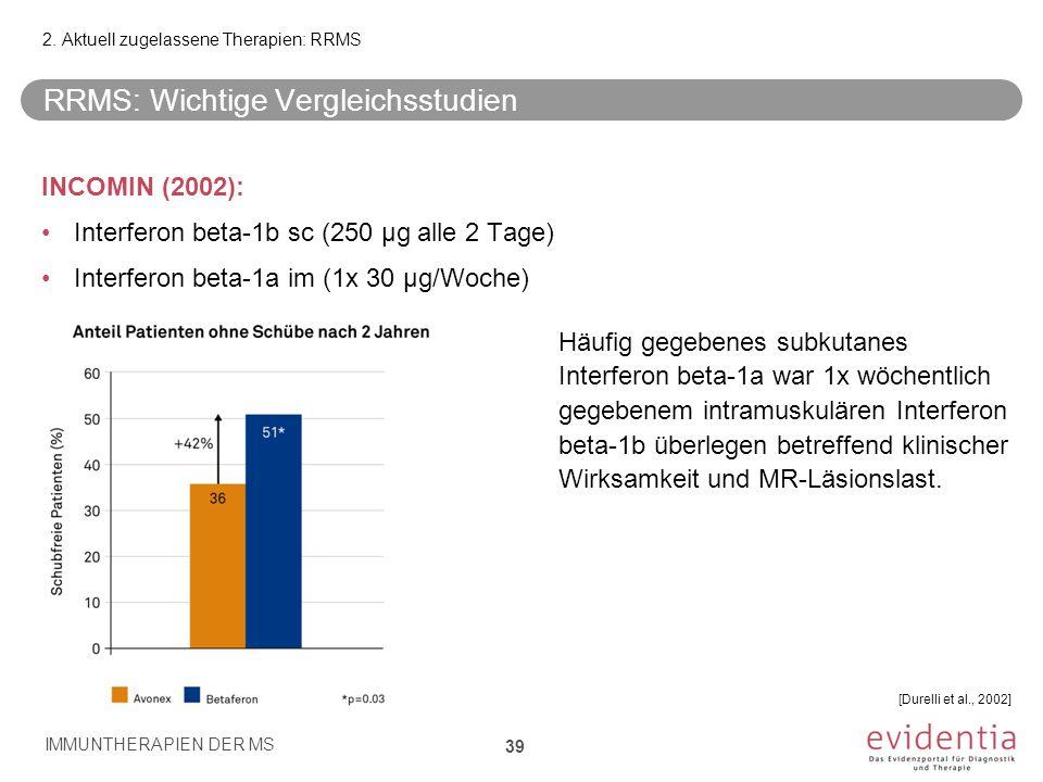 RRMS: Wichtige Vergleichsstudien INCOMIN (2002): Interferon beta-1b sc (250 µg alle 2 Tage) Interferon beta-1a im (1x 30 µg/Woche) Häufig gegebenes su