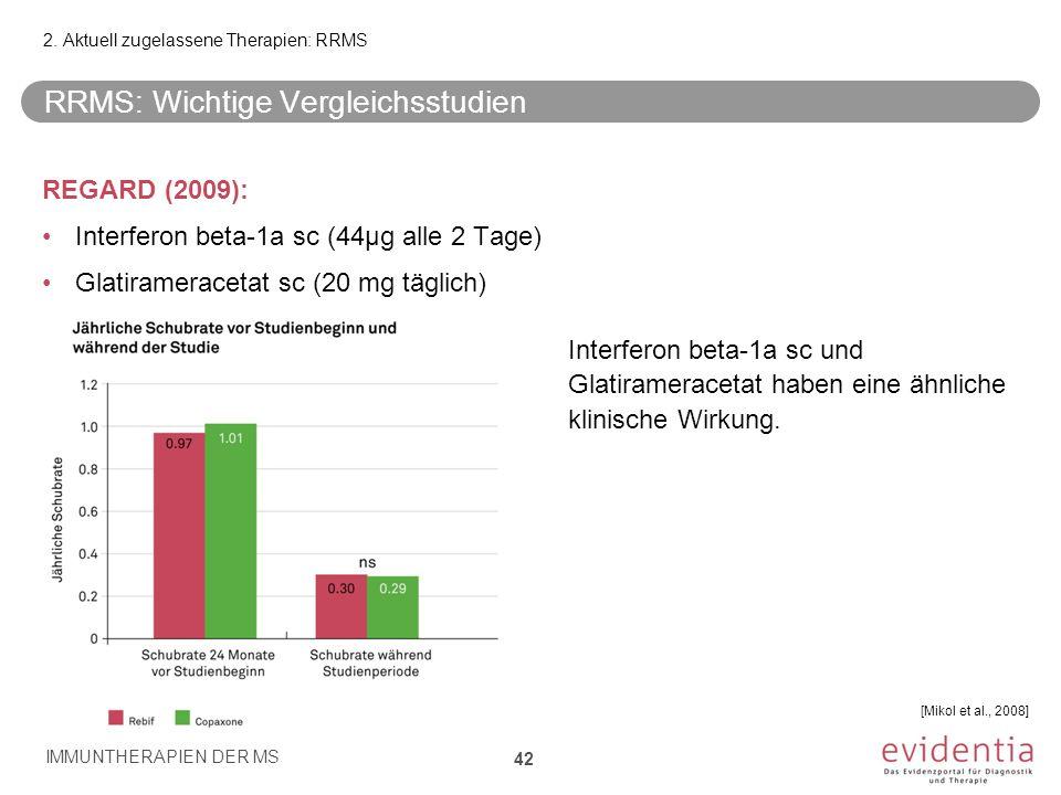 RRMS: Wichtige Vergleichsstudien REGARD (2009): Interferon beta-1a sc (44µg alle 2 Tage) Glatirameracetat sc (20 mg täglich) Interferon beta-1a sc und