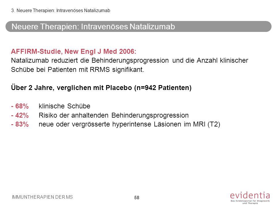 Neuere Therapien: Intravenöses Natalizumab AFFIRM-Studie, New Engl J Med 2006: Natalizumab reduziert die Behinderungsprogression und die Anzahl klinis