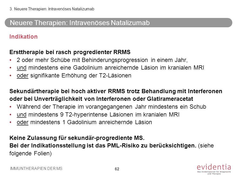 Neuere Therapien: Intravenöses Natalizumab Indikation Ersttherapie bei rasch progredienter RRMS 2 oder mehr Schübe mit Behinderungsprogression in eine