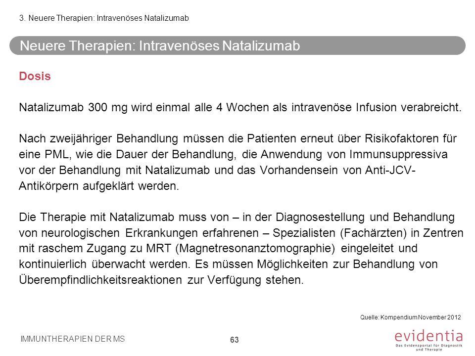 Neuere Therapien: Intravenöses Natalizumab Dosis Natalizumab 300 mg wird einmal alle 4 Wochen als intravenöse Infusion verabreicht. Nach zweijähriger