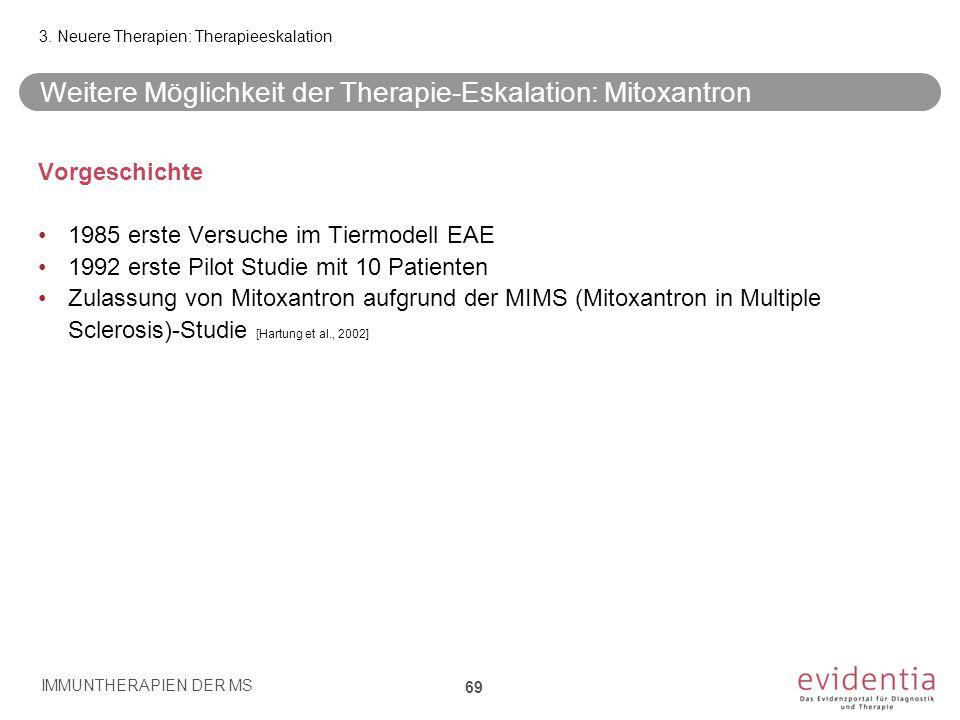 Weitere Möglichkeit der Therapie-Eskalation: Mitoxantron Vorgeschichte 1985 erste Versuche im Tiermodell EAE 1992 erste Pilot Studie mit 10 Patienten