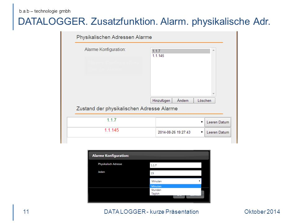 b.a.b – technologie gmbh DATALOGGER. Zusatzfunktion.