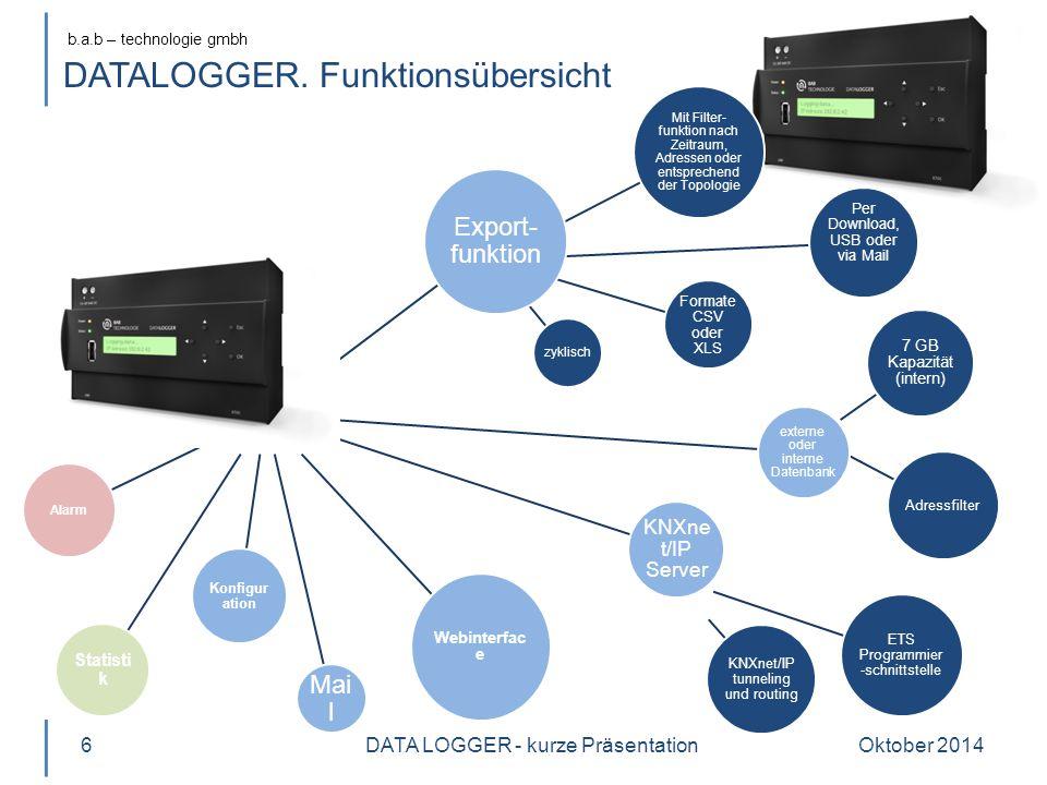 b.a.b – technologie gmbh Mit Filter- funktion nach Zeitraum, Adressen oder entsprechend der Topologie Per Download, USB oder via Mail Formate CSV oder XLS zyklisch 7 GB Kapazität (intern) Adressfilter ETS Programmier -schnittstelle KNXnet/IP tunneling und routing Export- funktion externe oder interne Datenbank KNXne t/IP Server Mai l Webinterfac e Konfigur ation Statisti k Alarm DATALOGGER.