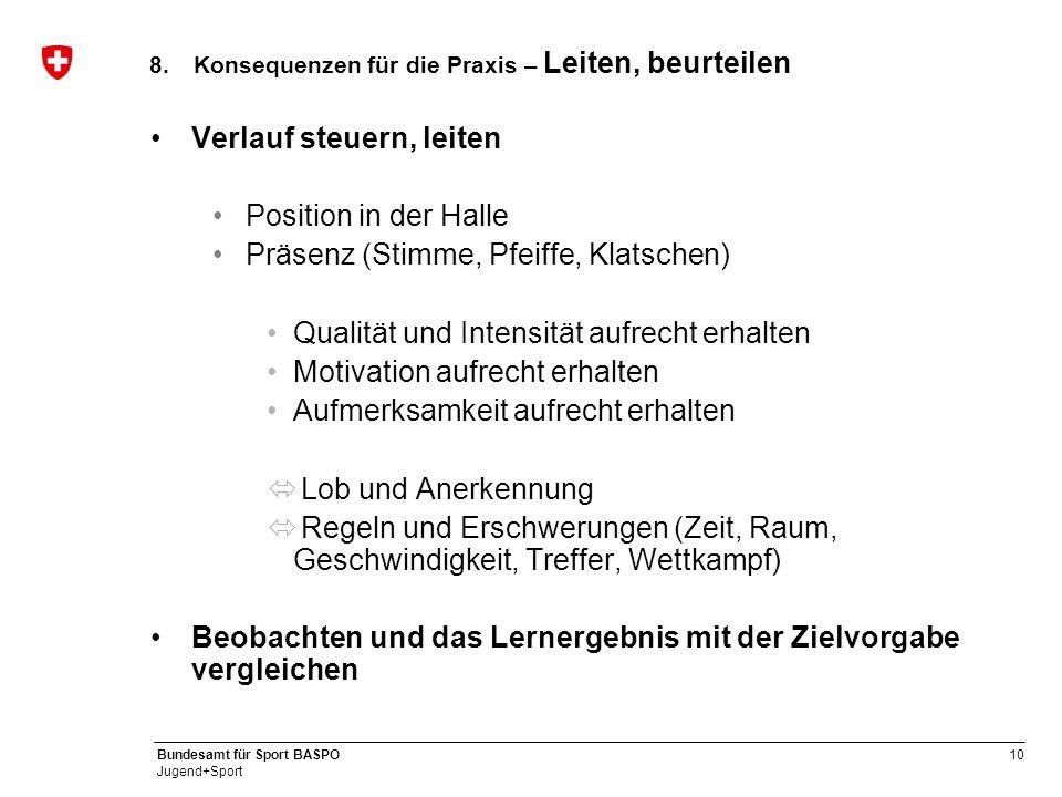 10 Bundesamt für Sport BASPO Jugend+Sport 8.Konsequenzen für die Praxis – Leiten, beurteilen Verlauf steuern, leiten Position in der Halle Präsenz (St