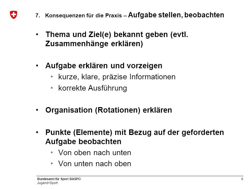 9 Bundesamt für Sport BASPO Jugend+Sport 7.Konsequenzen für die Praxis – Aufgabe stellen, beobachten Thema und Ziel(e) bekannt geben (evtl. Zusammenhä