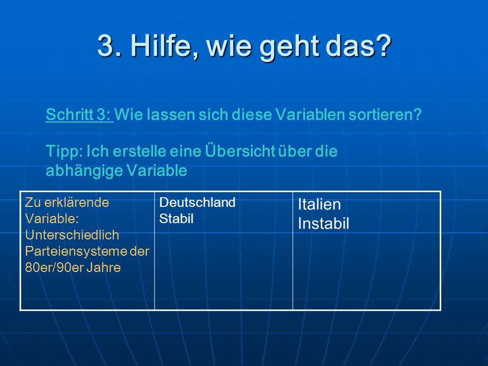 3. Hilfe, wie geht das? Schritt 3: Wie lassen sich diese Variablen sortieren? Tipp: Ich erstelle eine Übersicht über die abhängige Variable Zu erkläre