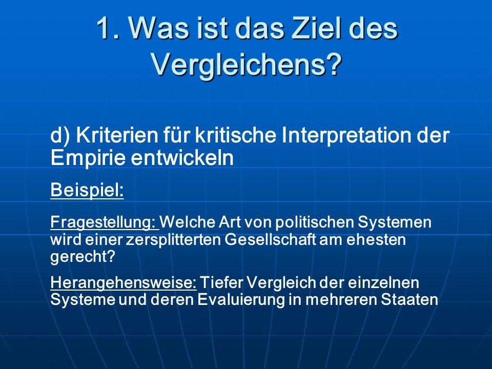 1. Was ist das Ziel des Vergleichens? d) Kriterien für kritische Interpretation der Empirie entwickeln Beispiel: Fragestellung: Welche Art von politis