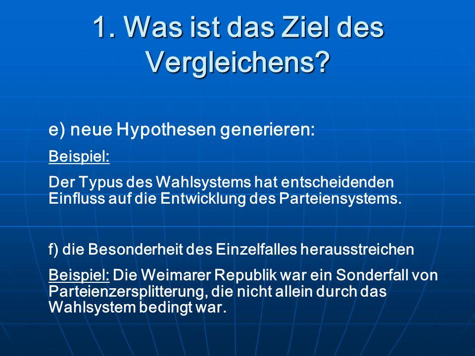 1. Was ist das Ziel des Vergleichens? e) neue Hypothesen generieren: Beispiel: Der Typus des Wahlsystems hat entscheidenden Einfluss auf die Entwicklu