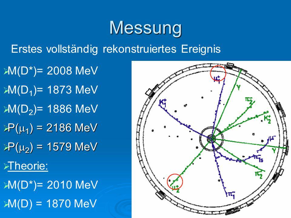 Messung  M(D*)= 2008 MeV  M(D 1 )= 1873 MeV  M(D 2 )= 1886 MeV  P(  1 ) = 2186 MeV  P(  2 ) = 1579 MeV  Theorie:  M(D*)= 2010 MeV  M(D) = 1870 MeV