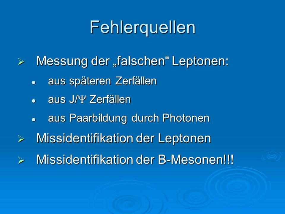 """Fehlerquellen  Messung der """"falschen"""" Leptonen: aus späteren Zerfällen aus späteren Zerfällen aus J/  Zerfällen aus J/  Zerfällen aus Paarbildung d"""