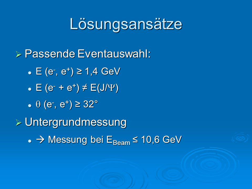 Lösungsansätze  Passende Eventauswahl: E (e -, e + ) ≥ 1,4 GeV E (e -, e + ) ≥ 1,4 GeV E (e - + e + ) ≠ E(J/  ) E (e - + e + ) ≠ E(J/  )  (e -, e