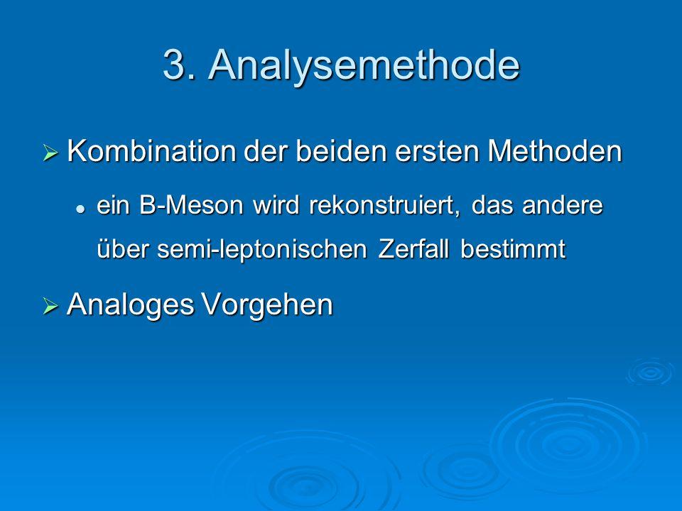 3. Analysemethode  Kombination der beiden ersten Methoden ein B-Meson wird rekonstruiert, das andere über semi-leptonischen Zerfall bestimmt ein B-Me