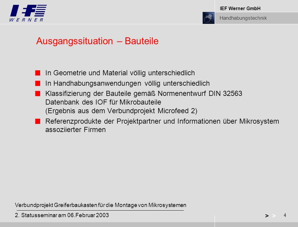 IEF Werner GmbH Handhabungstechnik 4 > Verbundprojekt Greiferbaukasten für die Montage von Mikrosystemen 2.