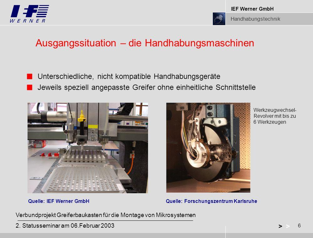 IEF Werner GmbH Handhabungstechnik 6 > Verbundprojekt Greiferbaukasten für die Montage von Mikrosystemen 2.