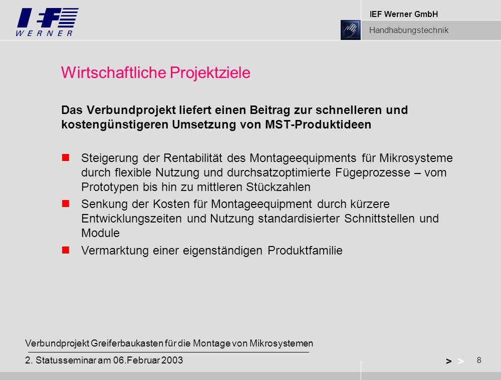 IEF Werner GmbH Handhabungstechnik 8 > Verbundprojekt Greiferbaukasten für die Montage von Mikrosystemen 2.