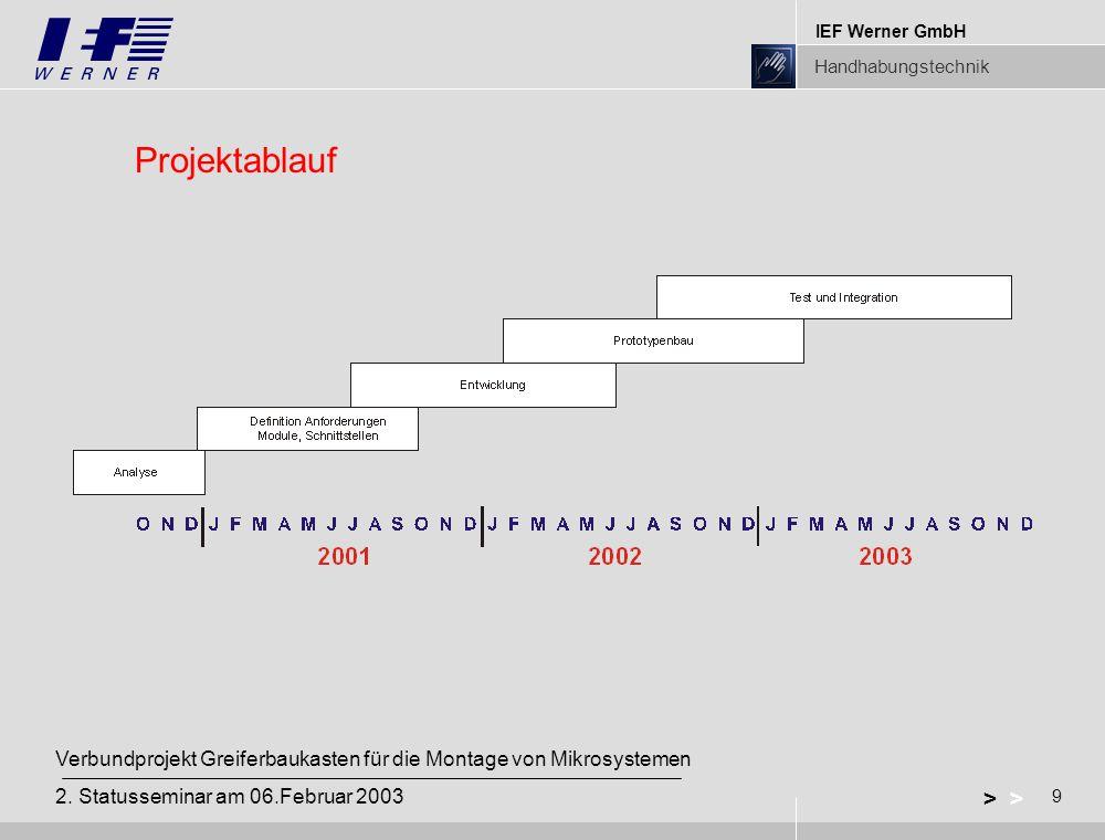 IEF Werner GmbH Handhabungstechnik 9 > Verbundprojekt Greiferbaukasten für die Montage von Mikrosystemen 2.