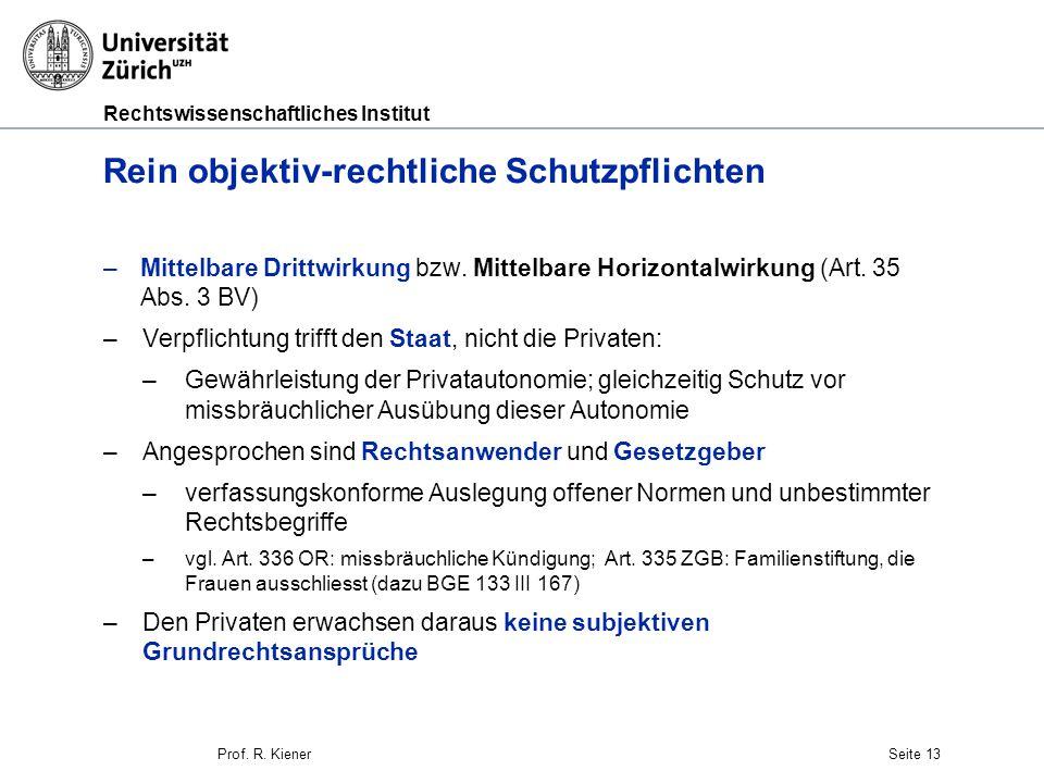 Rechtswissenschaftliches Institut Seite 13 Rein objektiv-rechtliche Schutzpflichten –Mittelbare Drittwirkung bzw.