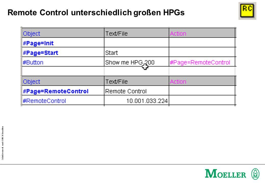 Schutzvermerk nach DIN 34 beachten Remote Control mit gleichgroßen HPGs Show me HPG HPG 1 2 1 2 Rücksprung bei 10s ohne Betätigung!