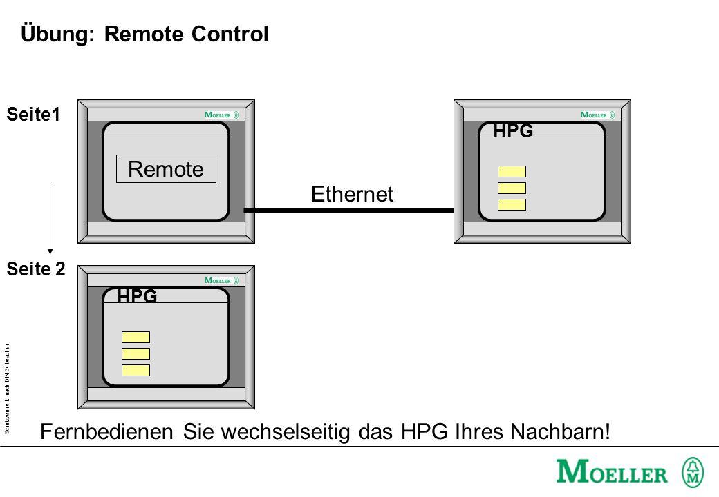 Schutzvermerk nach DIN 34 beachten Übung: Remote Control HPG Remote Ethernet Seite1 Seite 2 HPG Fernbedienen Sie wechselseitig das HPG Ihres Nachbarn!