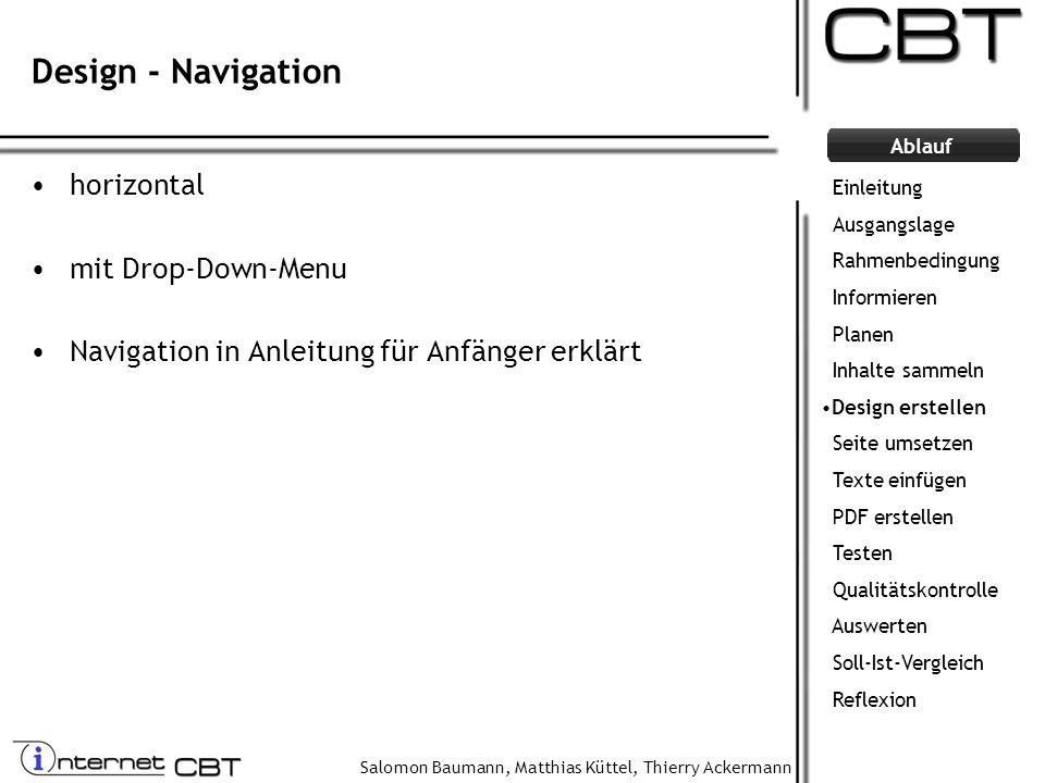 Salomon Baumann, Matthias Küttel, Thierry Ackermann Ablauf Design - Navigation horizontal mit Drop-Down-Menu Navigation in Anleitung für Anfänger erkl