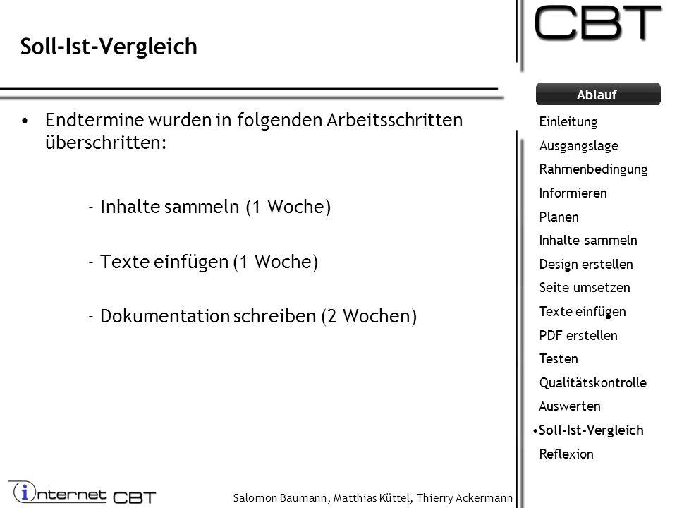 Salomon Baumann, Matthias Küttel, Thierry Ackermann Ablauf Soll-Ist-Vergleich Endtermine wurden in folgenden Arbeitsschritten überschritten: - Inhalte