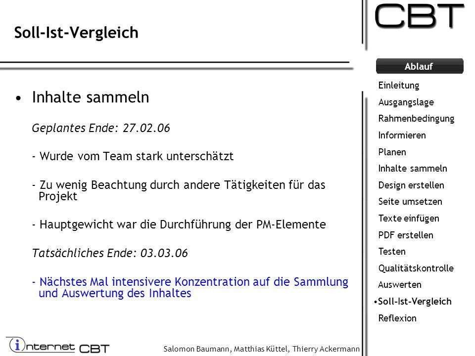 Salomon Baumann, Matthias Küttel, Thierry Ackermann Ablauf Soll-Ist-Vergleich Inhalte sammeln Geplantes Ende: 27.02.06 - Wurde vom Team stark untersch