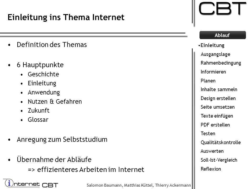 Salomon Baumann, Matthias Küttel, Thierry Ackermann Ablauf Einleitung ins Thema Internet Definition des Themas 6 Hauptpunkte Geschichte Einleitung Anw