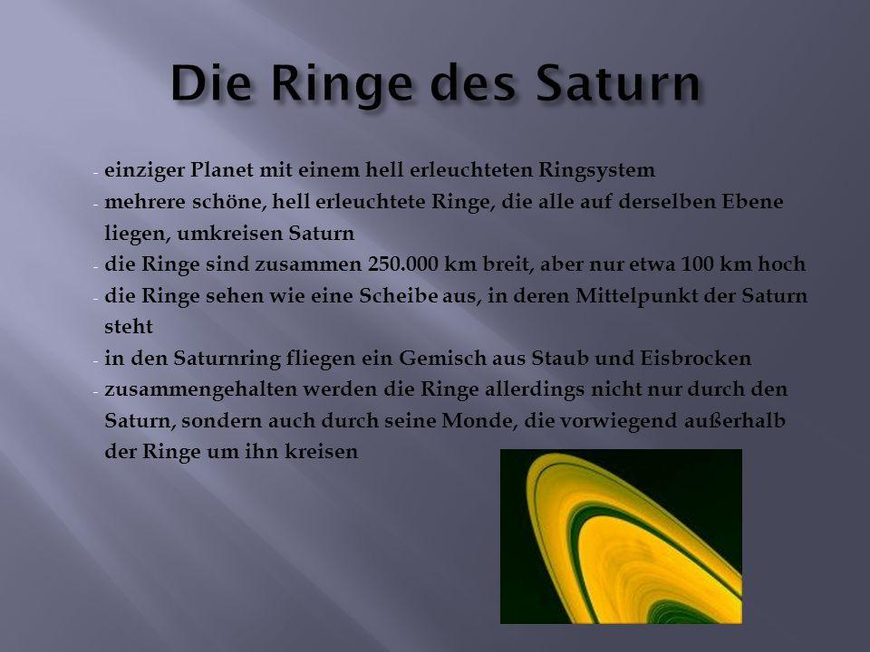 - einziger Planet mit einem hell erleuchteten Ringsystem - mehrere schöne, hell erleuchtete Ringe, die alle auf derselben Ebene liegen, umkreisen Satu