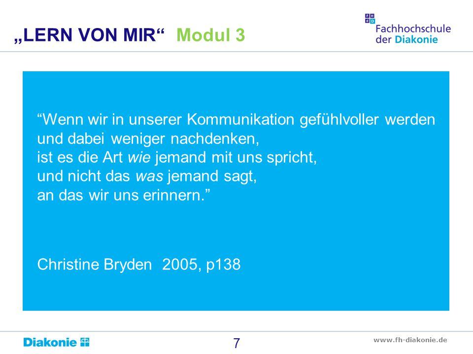 """www.fh-diakonie.de """"Wenn wir in unserer Kommunikation gefühlvoller werden und dabei weniger nachdenken, ist es die Art wie jemand mit uns spricht, und"""