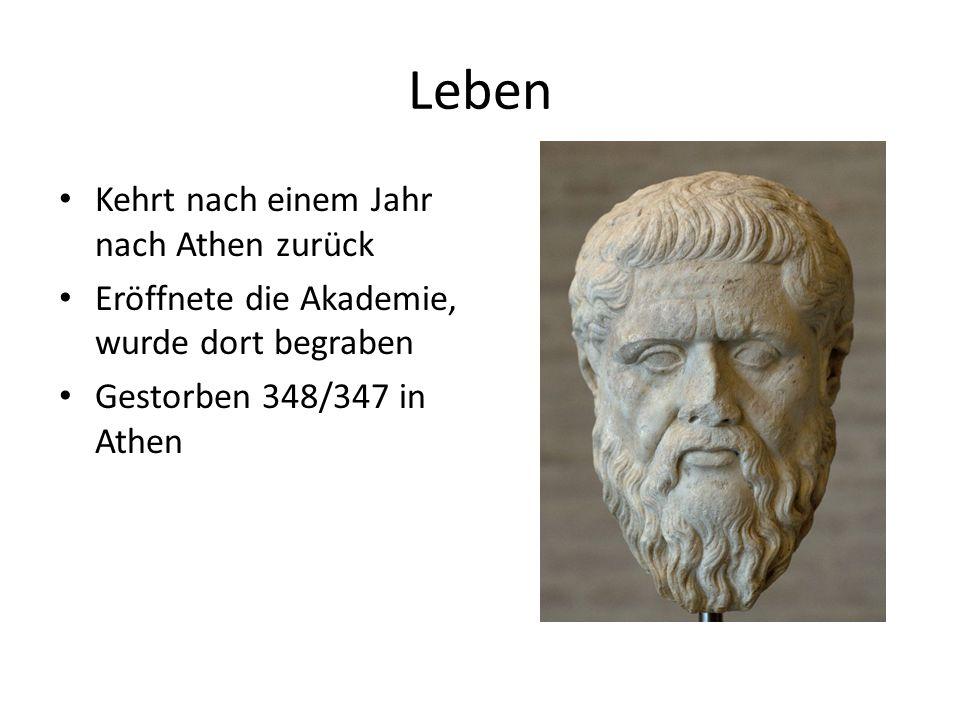 Platon Geboren 428/427 v. Chr. in Athen oder Algina Aufgewachsen in einer wohlhabende Familie Schüler des Sokrates Reiste 388 v. Chr. nach Sizilien->