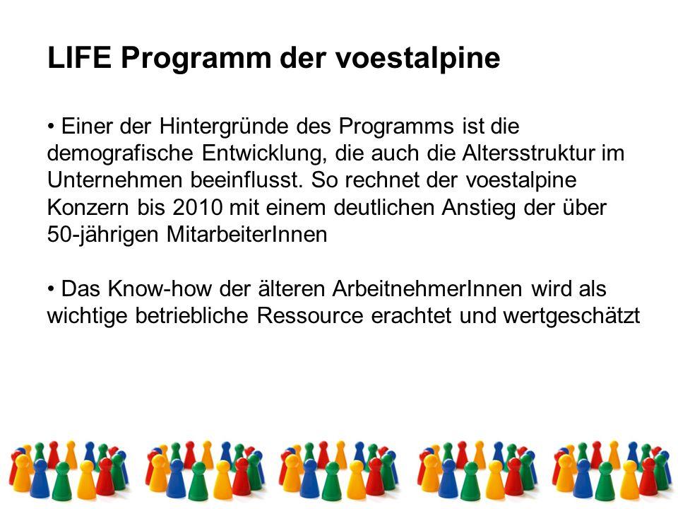LIFE Programm der voestalpine Einer der Hintergründe des Programms ist die demografische Entwicklung, die auch die Altersstruktur im Unternehmen beein