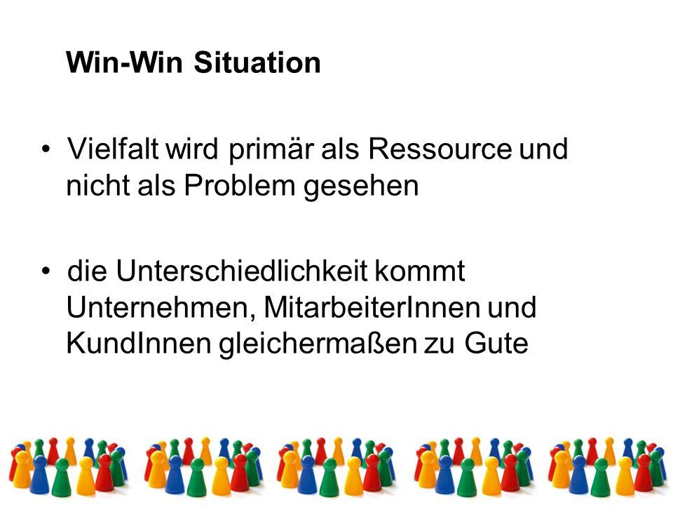 Win-Win Situation Vielfalt wird primär als Ressource und nicht als Problem gesehen die Unterschiedlichkeit kommt Unternehmen, MitarbeiterInnen und KundInnen gleichermaßen zu Gute