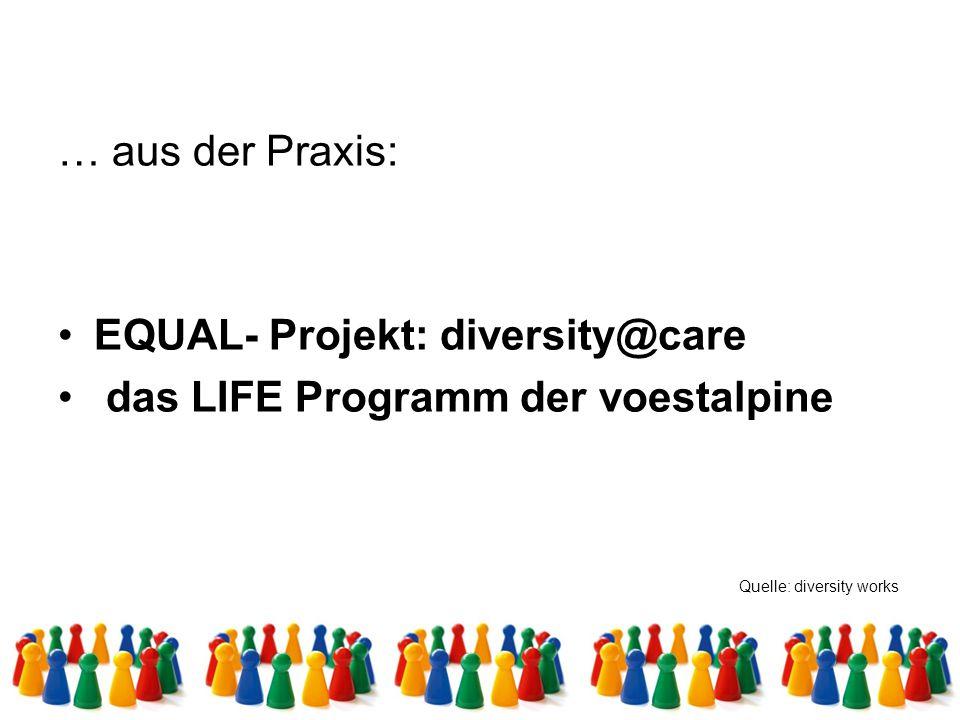 … aus der Praxis: EQUAL- Projekt: diversity@care das LIFE Programm der voestalpine Quelle: diversity works