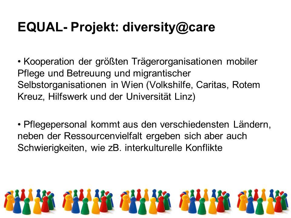 EQUAL- Projekt: diversity@care Kooperation der größten Trägerorganisationen mobiler Pflege und Betreuung und migrantischer Selbstorganisationen in Wien (Volkshilfe, Caritas, Rotem Kreuz, Hilfswerk und der Universität Linz) Pflegepersonal kommt aus den verschiedensten Ländern, neben der Ressourcenvielfalt ergeben sich aber auch Schwierigkeiten, wie zB.