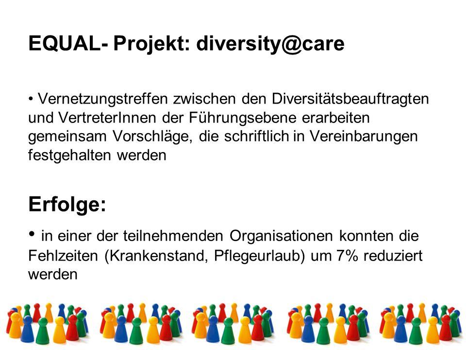 EQUAL- Projekt: diversity@care Erfolge: Abschluss von BV´s mit folgenden Inhalten: – der 1.