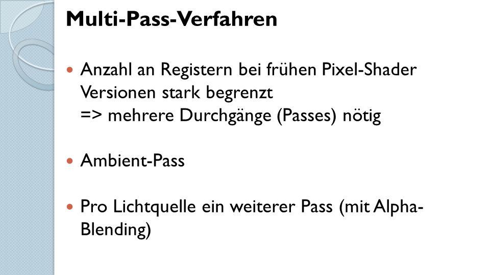 Multi-Pass-Verfahren Anzahl an Registern bei frühen Pixel-Shader Versionen stark begrenzt => mehrere Durchgänge (Passes) nötig Ambient-Pass Pro Lichtquelle ein weiterer Pass (mit Alpha- Blending)