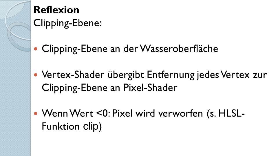 Reflexion Clipping-Ebene: Clipping-Ebene an der Wasseroberfläche Vertex-Shader übergibt Entfernung jedes Vertex zur Clipping-Ebene an Pixel-Shader Wenn Wert <0: Pixel wird verworfen (s.