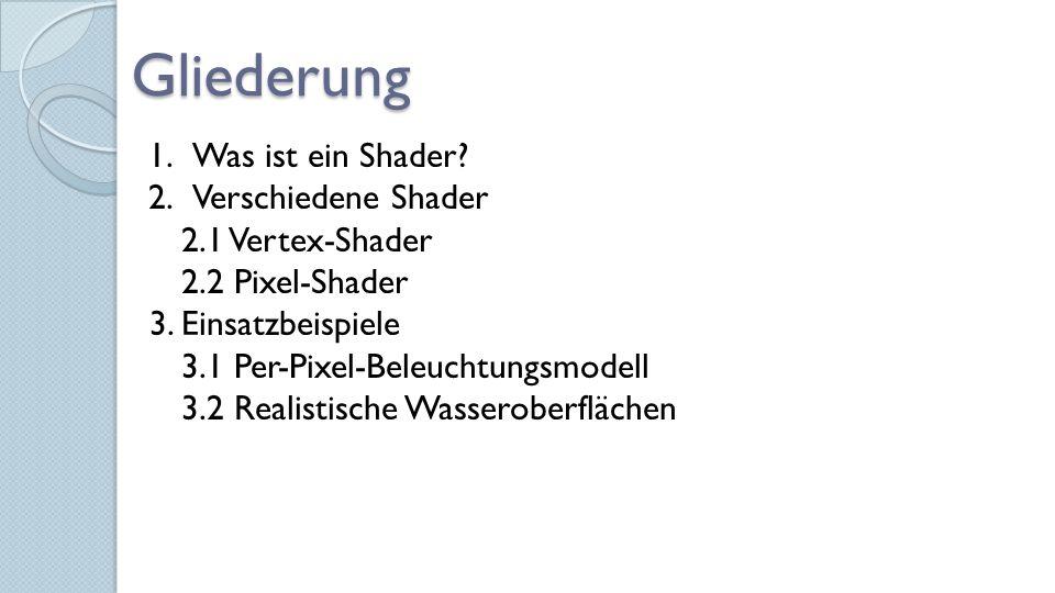Gliederung 1.Was ist ein Shader. 2.Verschiedene Shader 2.1 Vertex-Shader 2.2 Pixel-Shader 3.
