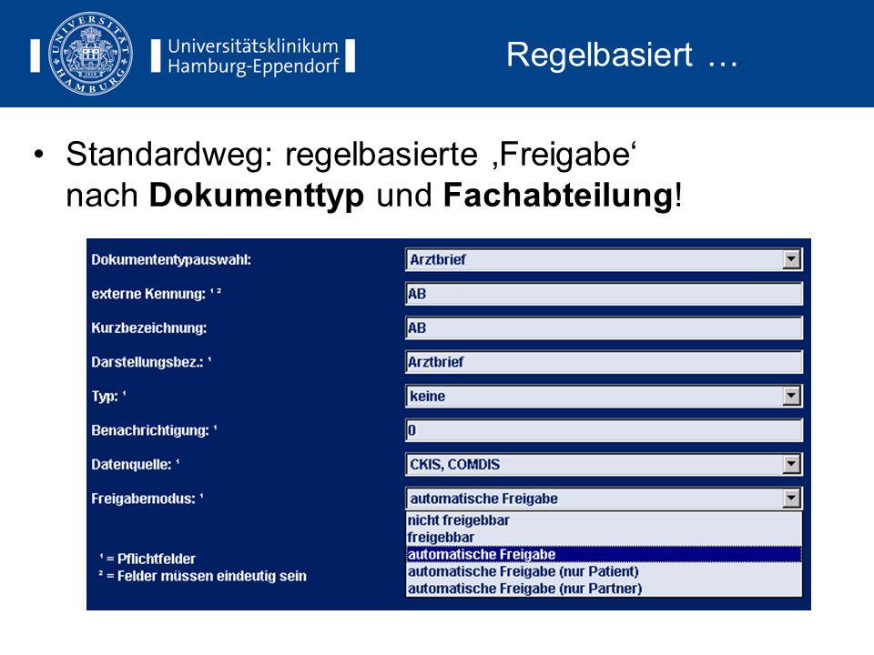 Regelbasiert … Standardweg: regelbasierte 'Freigabe' nach Dokumenttyp und Fachabteilung!