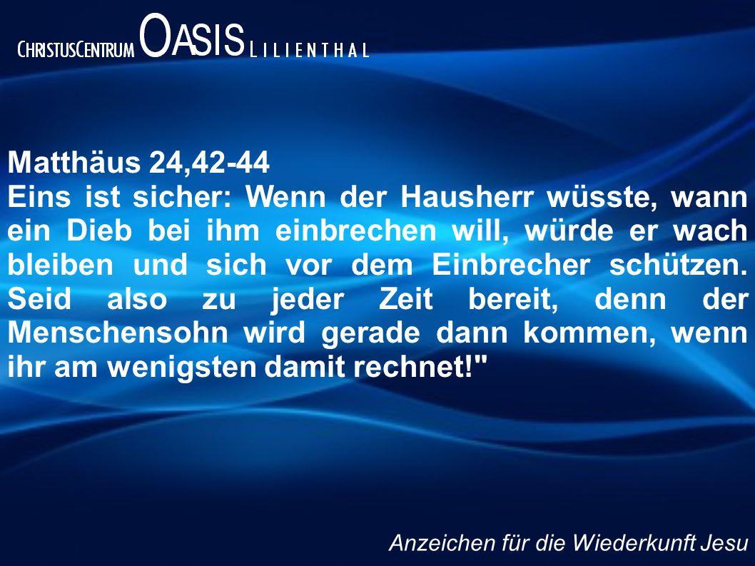 Matthäus 24,4-5 Jesus antwortete: Lasst euch von keinem Menschen täuschen und verführen.