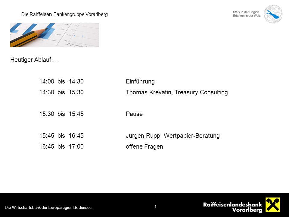 Die Wirtschaftsbank der Europaregion Bodensee. 1 Die Raiffeisen-Bankengruppe Vorarlberg Heutiger Ablauf…. 14:00 bis 14:30Einführung 14:30 bis 15:30Tho
