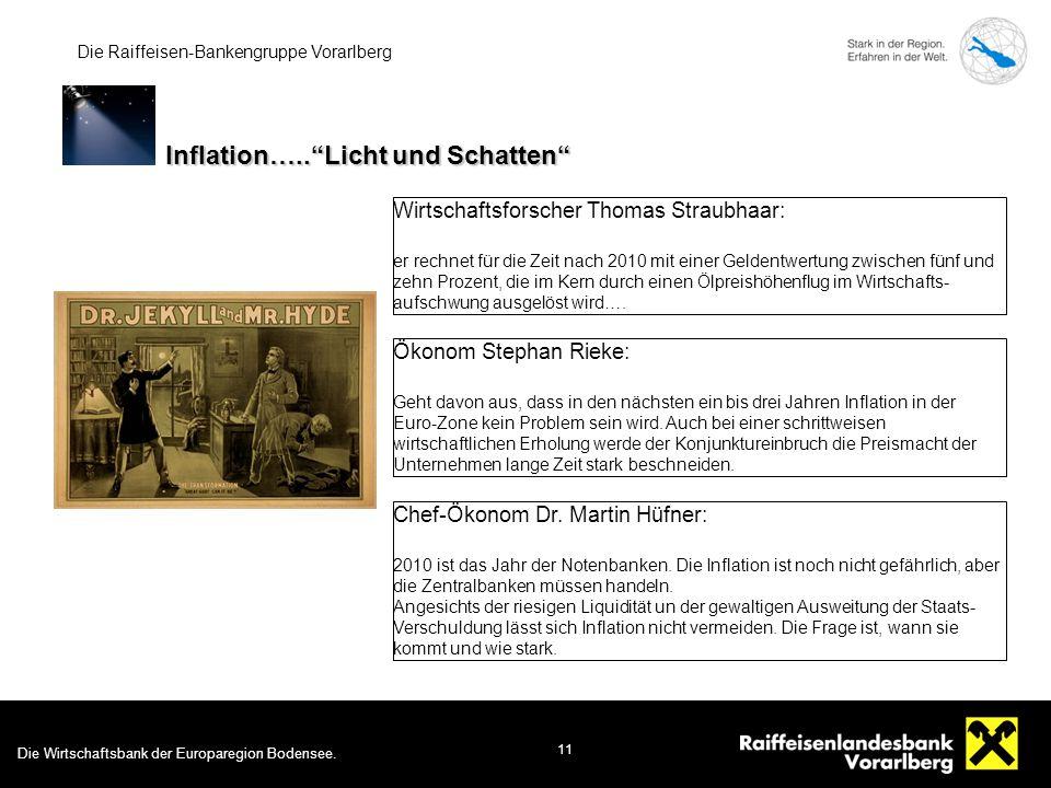 Die Wirtschaftsbank der Europaregion Bodensee. 11 Die Raiffeisen-Bankengruppe Vorarlberg Wirtschaftsforscher Thomas Straubhaar: er rechnet für die Zei