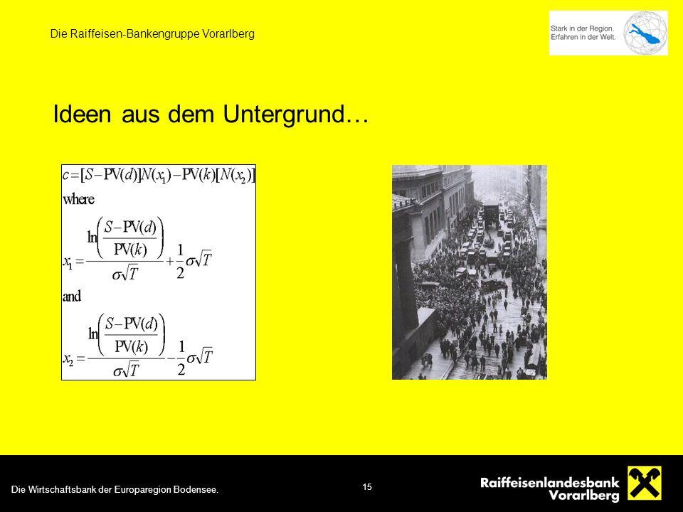 15 Die Raiffeisen-Bankengruppe Vorarlberg Ideen aus dem Untergrund…