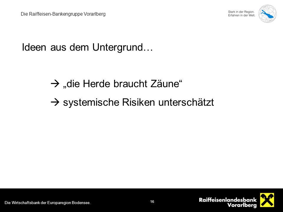 """Die Wirtschaftsbank der Europaregion Bodensee. 16 Die Raiffeisen-Bankengruppe Vorarlberg Ideen aus dem Untergrund…  """"die Herde braucht Zäune""""  syste"""