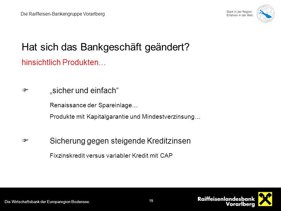 Die Wirtschaftsbank der Europaregion Bodensee. 19 Die Raiffeisen-Bankengruppe Vorarlberg Hat sich das Bankgeschäft geändert? hinsichtlich Produkten… 