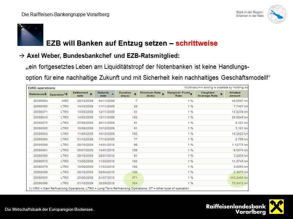 8 Die Raiffeisen-Bankengruppe Vorarlberg EZB will Banken auf Entzug setzen – schrittweise Die Raiffeisen-Bankengruppe Vorarlberg Die Wirtschaftsbank der Europaregion Bodensee.
